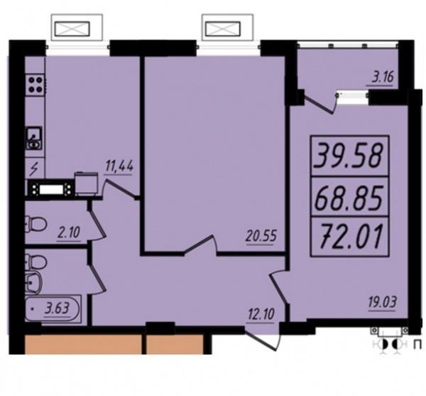 Планировки двухкомнатных квартир 72.01 м^2